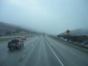 Road in fog and rain
