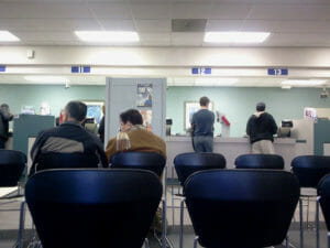 People wait patiently at the DMV