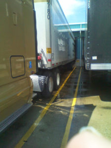 Trucks parked at the receiving dock