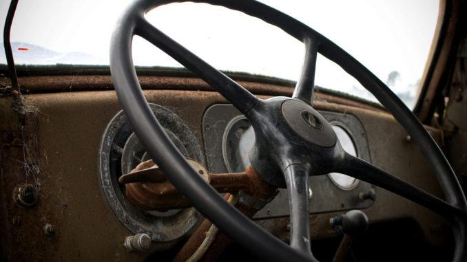 Logging truck steering wheel