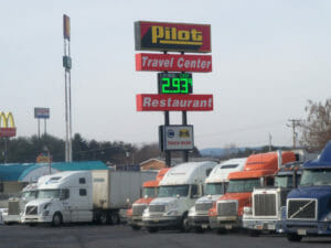 Pilot truck stop displaying gas prices