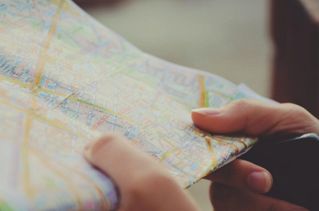Fingers on a roadmap