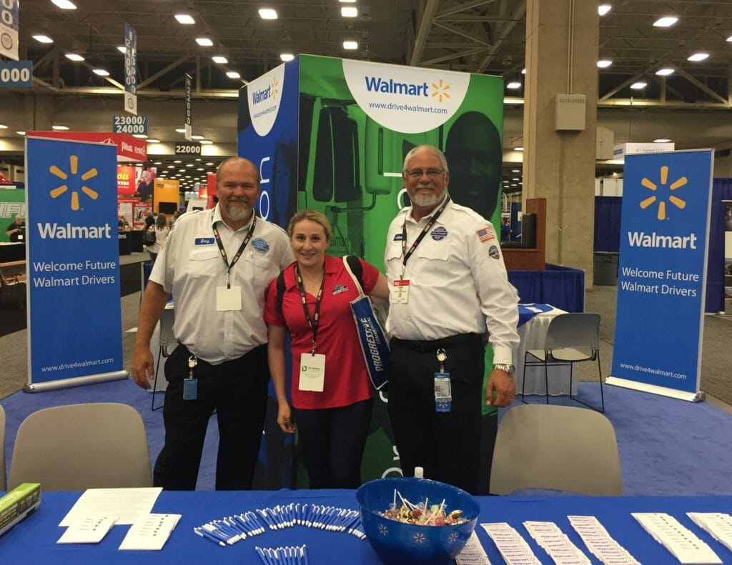 Class A Drivers' Jackie with Walmart representatives at The Great American Trucking Show