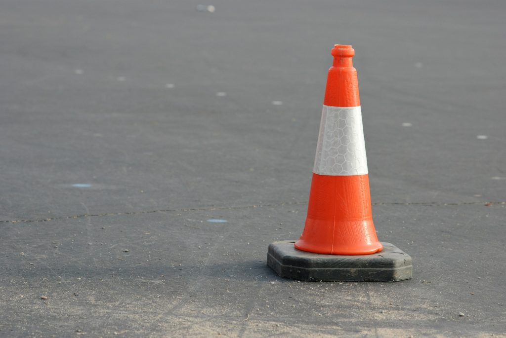 Orange traffic cone for CDL driving test