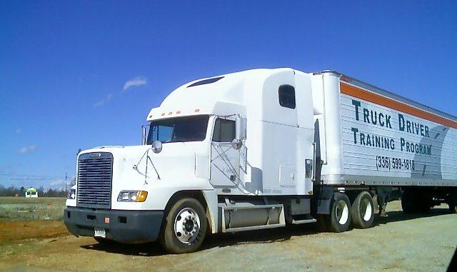 White tractor-trailer for truck training