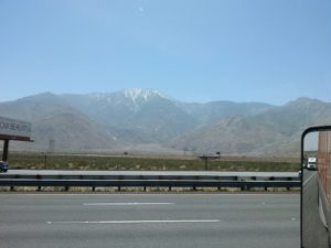 Shot of mountains from a truck