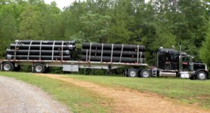 Flatbed with load tied down