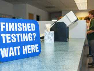 """Finished Testing"" sign at DMV for CDL testers"