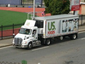 Truck with US Foods refrigerated trailer