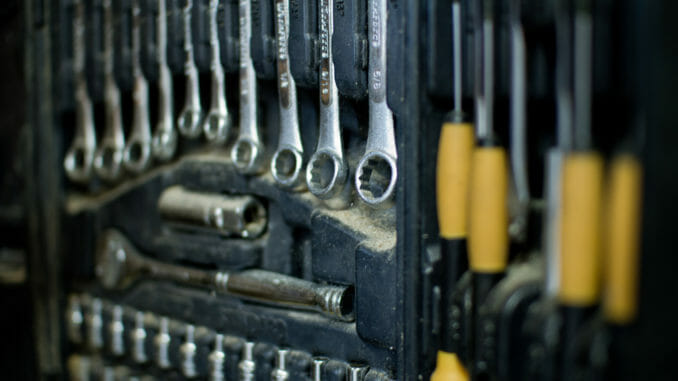 Assorted wrenches and tools for truck drivers