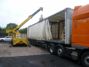 Freight being loaded in trailer