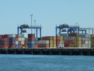 Seaport with many shipping containers