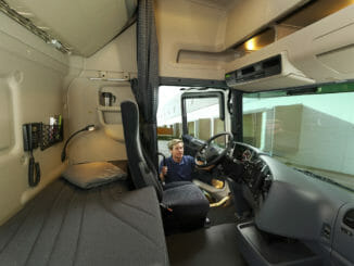 Inside the sleeper cab of a truck