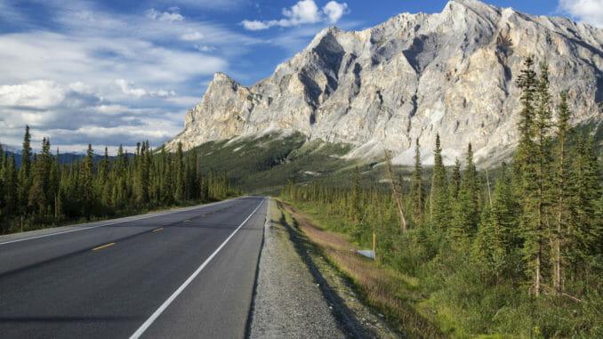 Alaska highway into the mountains