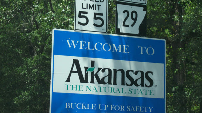 """Welcome to Arkansas"" sign"