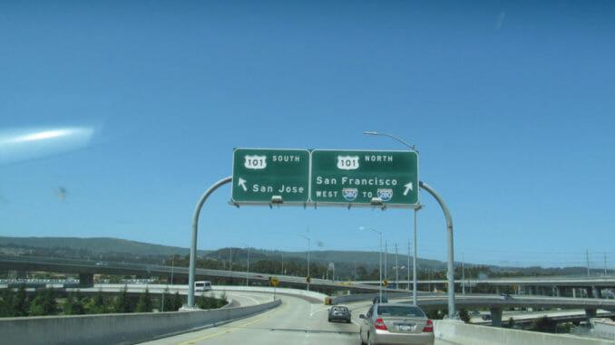 California highway under the blue sky