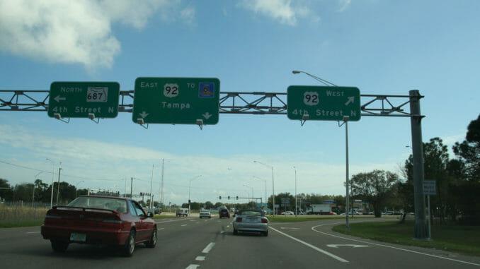 Florida highway under sunny sky