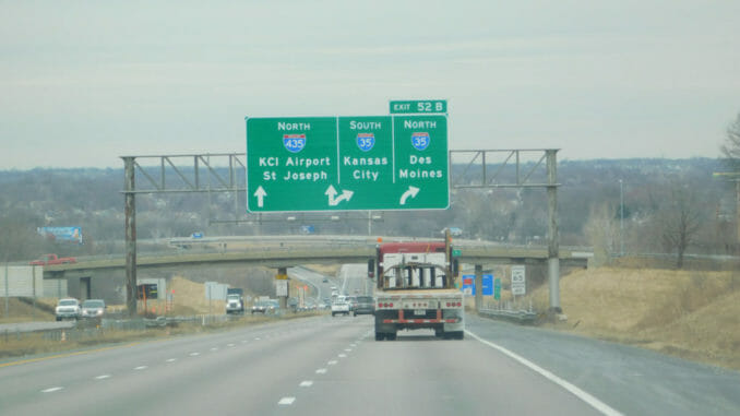 Kansas highway with signs