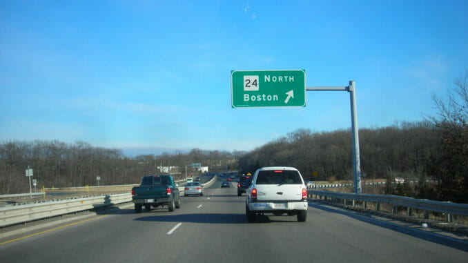 Massachusetts highway with blue sky