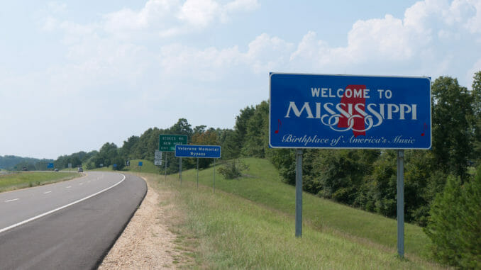 Mississippi road with sign