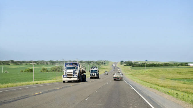 North Dakota road, sparsely populated
