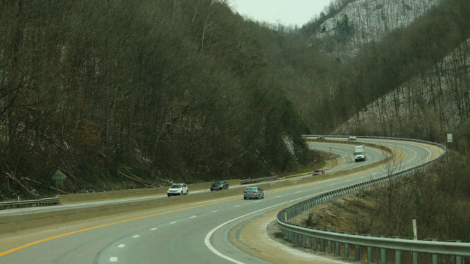 West Virginia road cutting through the mountains