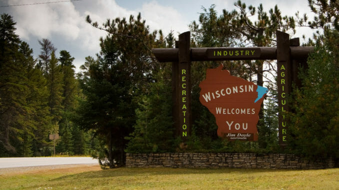 Wisconsin sign by the side of the road