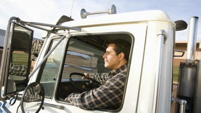 Truck driver looking at the road ahead