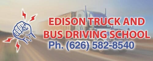 Edison Truck and Bus Driving School logo with truck driving