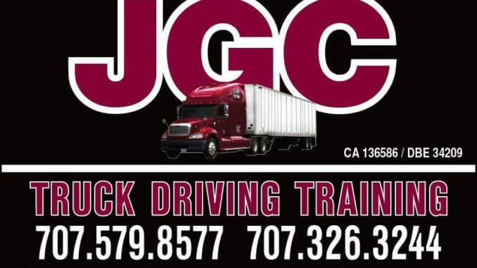 JGC Truck Driving Training Logo burgandy red truck