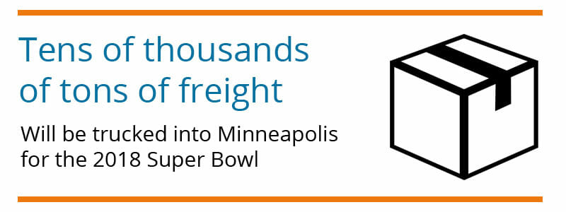 Tens of thousands of tons of freight goes to the Super Bowl