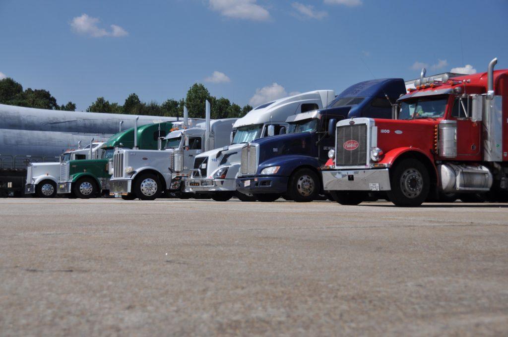 Multiple Semi-Trucks at a Truck Stop