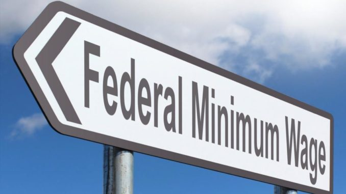 road sign for minimum wage