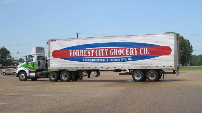 Reefer truck delivering groceries